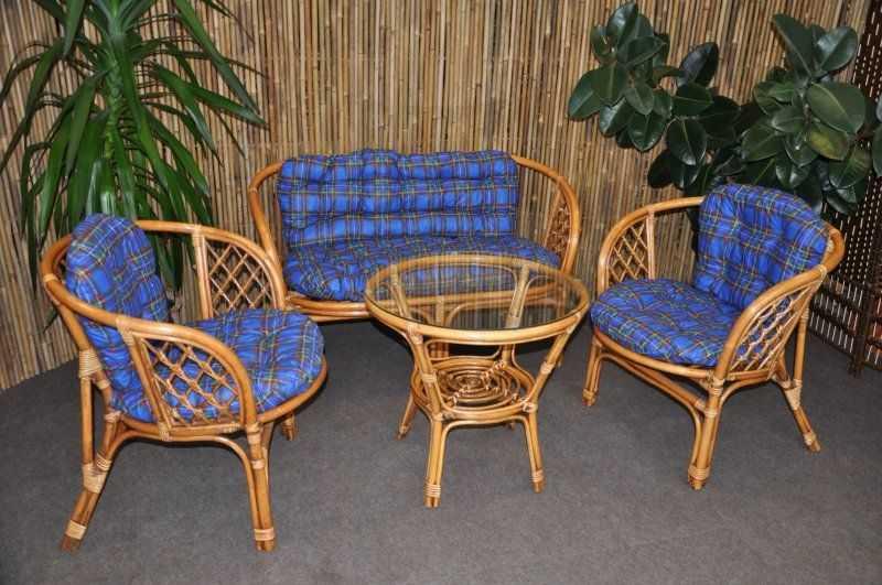Ratanová sedací souprava Bahama velká BW, polstr modrý SLEVA 7 % | RYCHLÉ DODÁNÍ