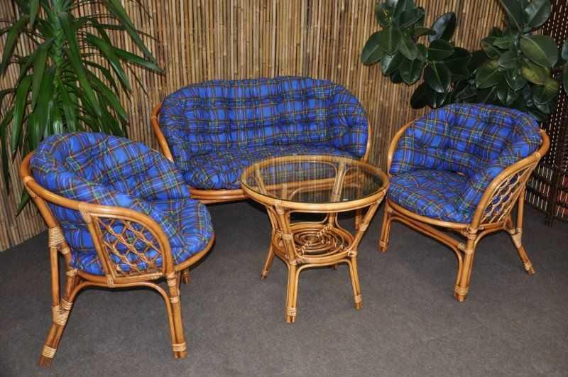 Ratanová sedací souprava Bahama velká BW, polstr modrý MAXI SLEVA 7 % | RYCHLÉ DODÁNÍ