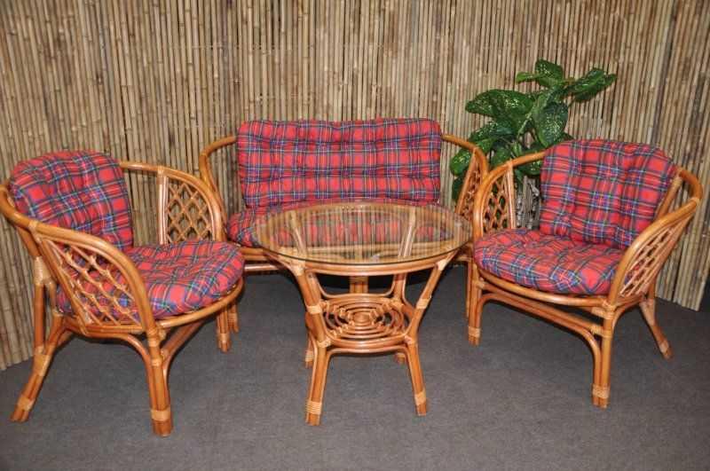 Ratanová sedací souprava Bahama velká cognac červená SLEVA 7 %   RYCHLÉ DODÁNÍ
