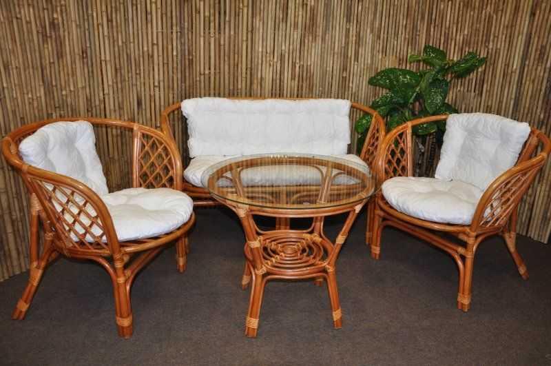 Ratanová sedací souprava Bahama velká cognac bílá SLEVA 7 % | RYCHLÉ DODÁNÍ