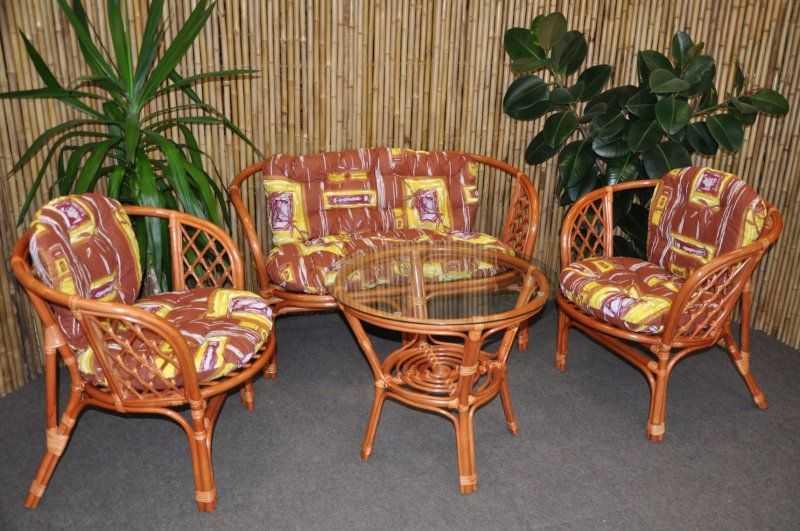 Ratanová sedací souprava Bahama velká cognac hnědý list SLEVA 7 % | RYCHLÉ DODÁNÍ