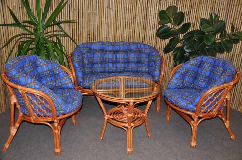 Ratanová sedací souprava Bahama velká cognac modrá MAXI SLEVA 8 % | RYCHLÉ DODÁNÍ