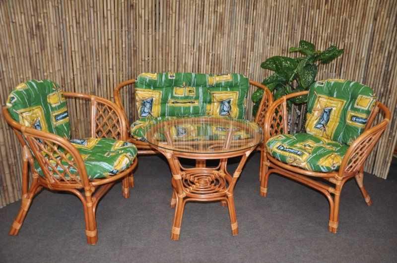 Ratanová sedací souprava Bahama velká cognac zelená SLEVA 7 %   RYCHLÉ DODÁNÍ