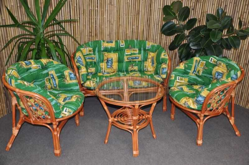 Ratanová sedací souprava Bahama velká cognac zelená MAXI SLEVA 8 % | RYCHLÉ DODÁNÍ