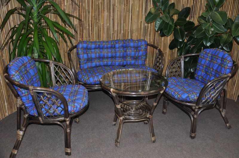 Ratanová sedací souprava Bahama velká hnědá, polstr modrý SLEVA 7 % | RYCHLÉ DODÁNÍ
