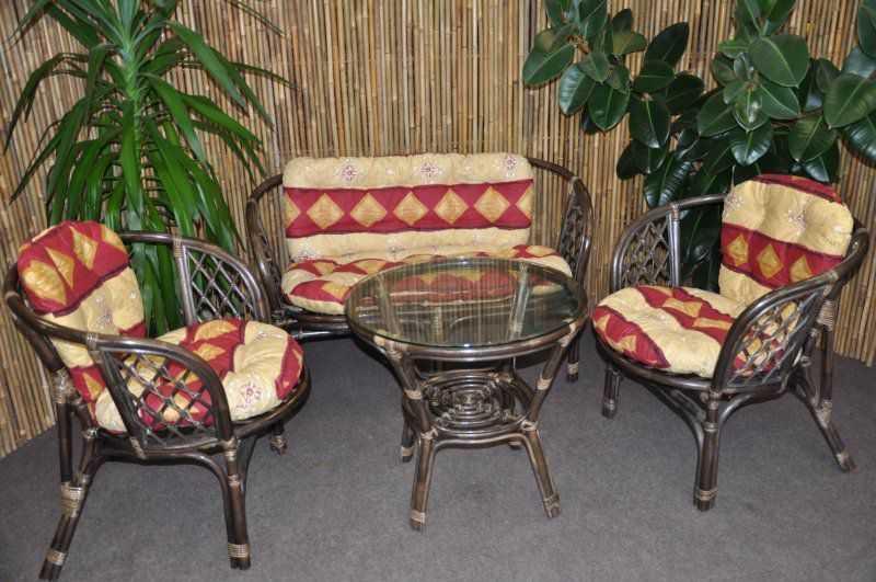 Ratanová sedací souprava Bahama velká hnědá, polstr vínový motiv SLEVA 7 % | RYCHLÉ DODÁNÍ