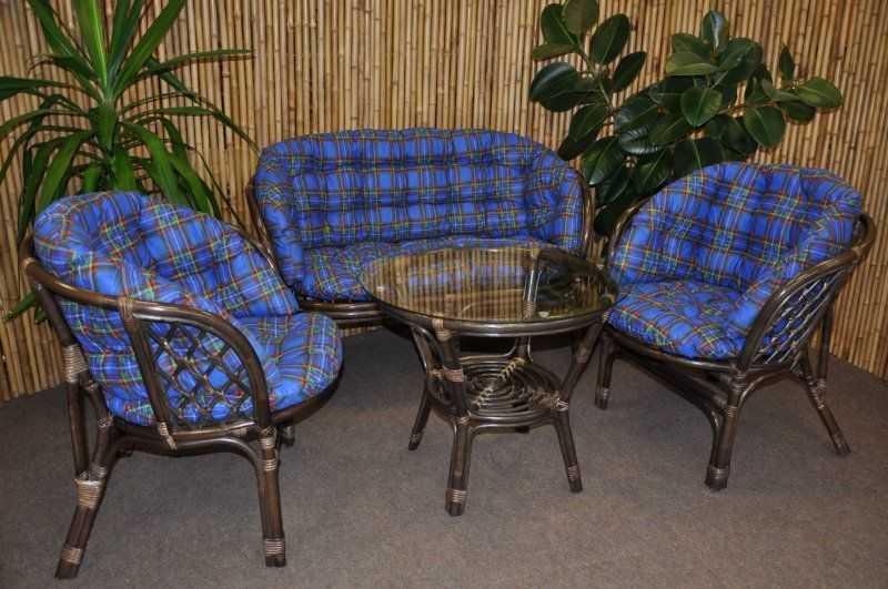 Ratanová sedací souprava Bahama velká hnědá, polstr MAXI modrý SLEVA 8 % | RYCHLÉ DODÁNÍ