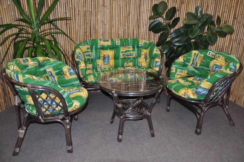 Ratanová sedací souprava Bahama velká hnědá, polstr MAXI zelený SLEVA 7 % | RYCHLÉ DODÁNÍ