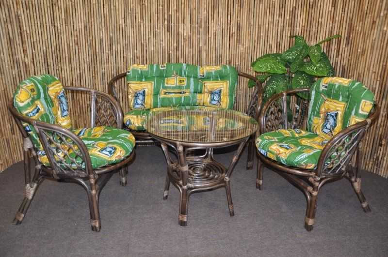 Ratanová sedací souprava Bahama velká hnědá, polstr zelený SLEVA 7 % | RYCHLÉ DODÁNÍ