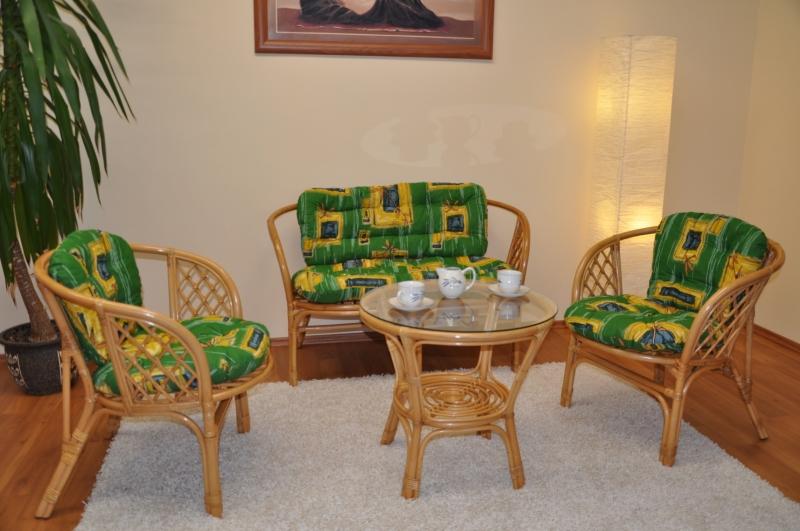 Ratanová sedací souprava Bahama velká polstr zelený SLEVA 7 % | RYCHLÉ DODÁNÍ