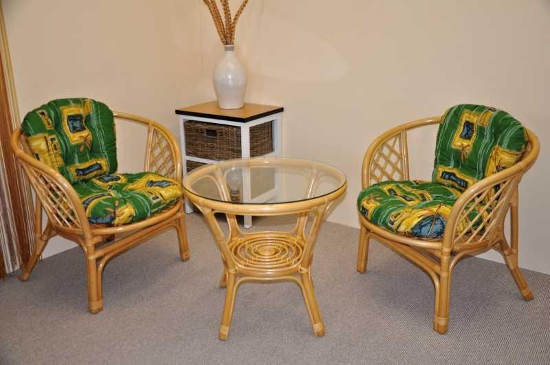 Ratanová sedací souprava Bahama malá medová zelené polstry SLEVA 7 % | RYCHLÉ DODÁNÍ