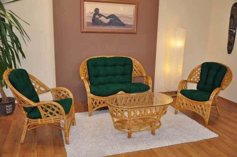 Ratanová sedací souprava Copacabana medová Maxi polstry zelený dralon SLEVA 43 % | RYCHLÉ DODÁNÍ