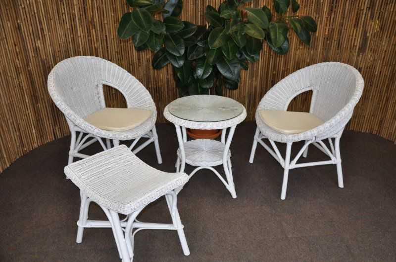 Ratanová sedací souprava Ebony bílá s taburetkou SLEVA 7 % | RYCHLÉ DODÁNÍ