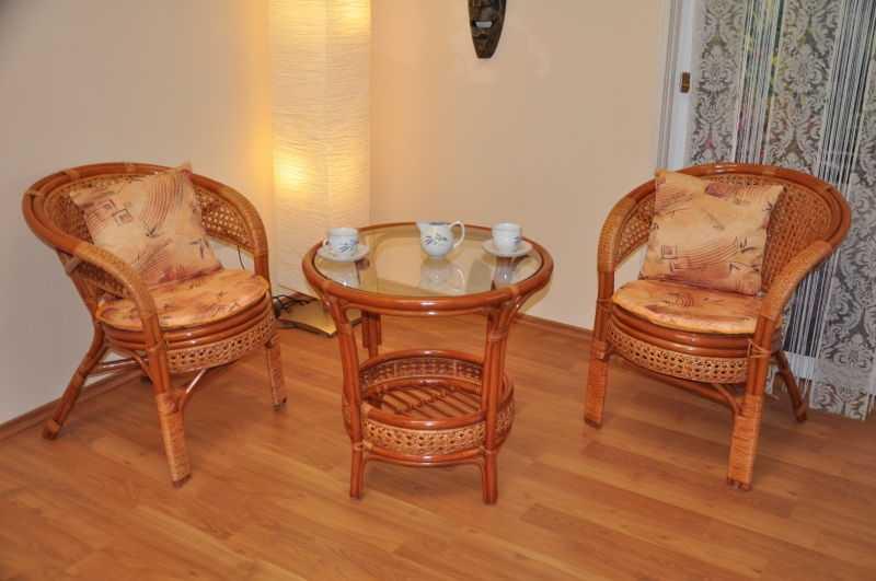 Ratanová sedací souprava Kina 2+1 koňak kulatý stolek SLEVA 7 % | RYCHLÉ DODÁNÍ