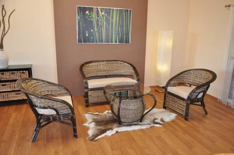 Ratanová sedací souprava Prafa wicker mix polstry ebony SLEVA 15 % | RYCHLÉ DODÁNÍ