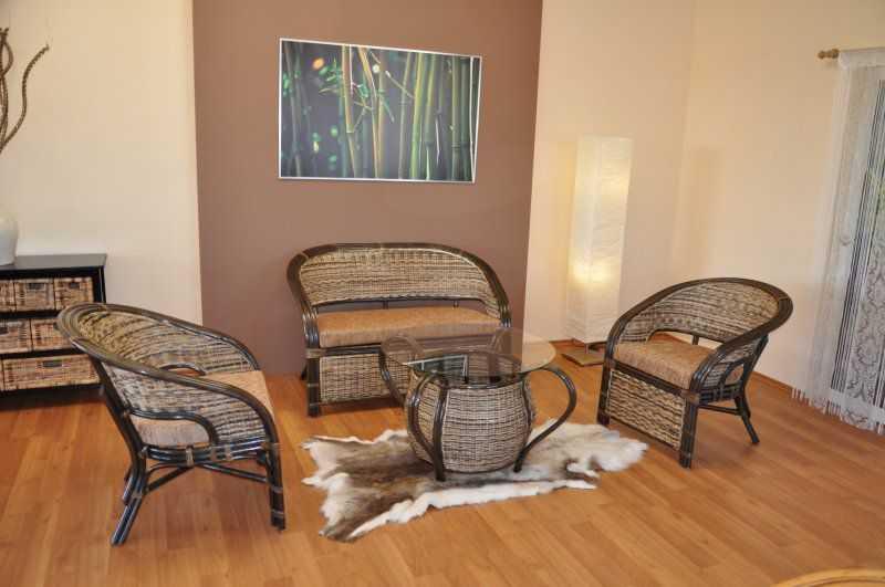 Ratanová sedací souprava Prafa wicker mix polstry hnědé SLEVA 15 % | RYCHLÉ DODÁNÍ