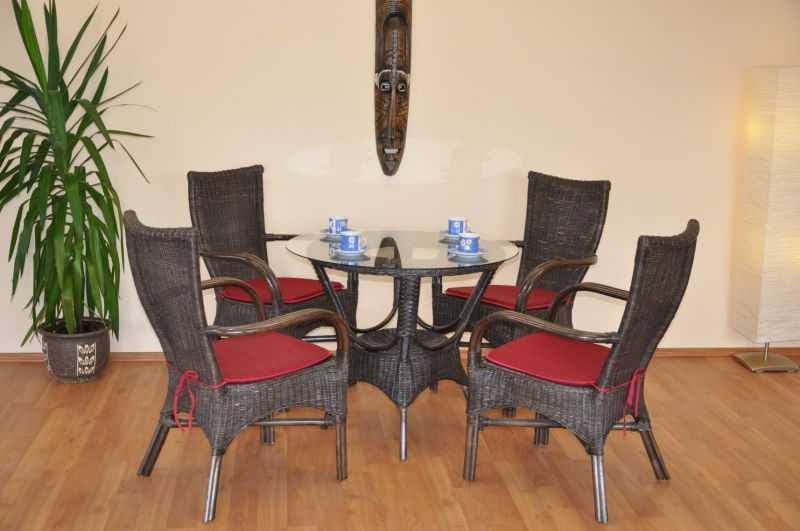 Ratanová sedací souprava Wanuta hnědá polstry vínové SLEVA 16 % | RYCHLÉ DODÁNÍ