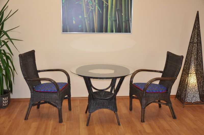 Ratanová sedací souprava Wanuta hnědá small polstry modré SLEVA 7 % | RYCHLÉ DODÁNÍ