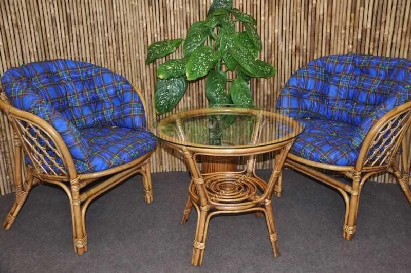 Ratanová sedací souprava Bahama 2+1 brown wash polstr modrý MAXI SLEVA 7 % | RYCHLÉ DODÁNÍ