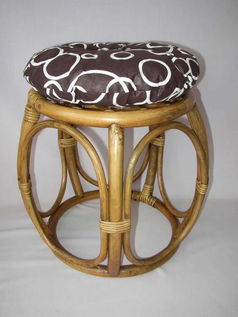 Ratanová taburetka brown wash široká polstr bubliny | RYCHLÉ DODÁNÍ