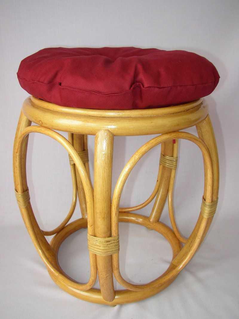 Ratanová taburetka široká medová polstr vínový | RYCHLÉ DODÁNÍ