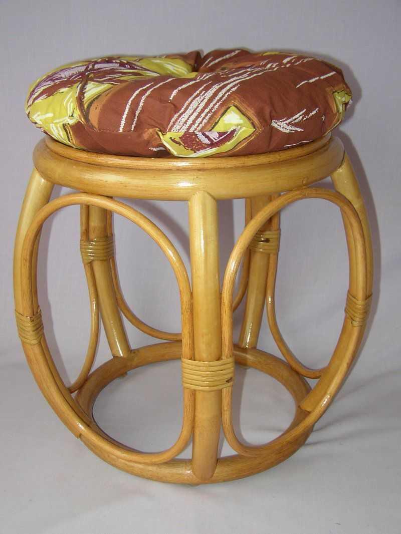 Ratanová taburetka široká medová s polstrem hnědý list | RYCHLÉ DODÁNÍ