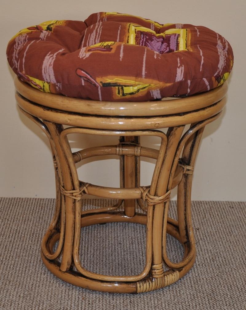 Ratanová taburetka úzká brown wash polstr hnědý list | RYCHLÉ DODÁNÍ
