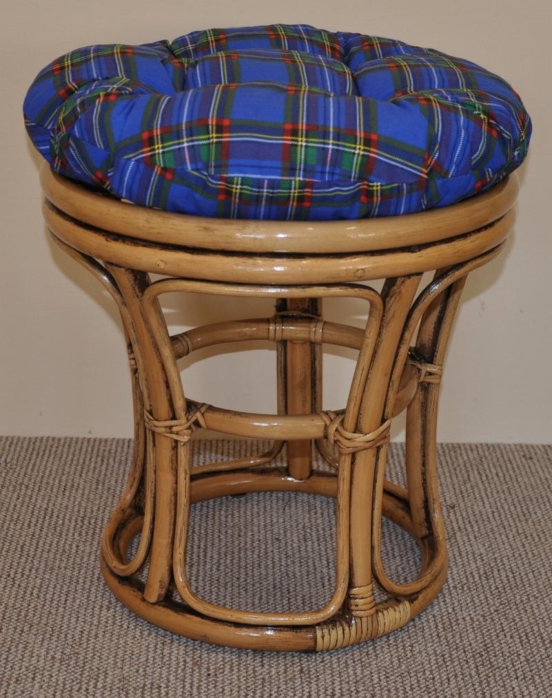 Ratanová taburetka úzká brown wash polstr modrý | RYCHLÉ DODÁNÍ