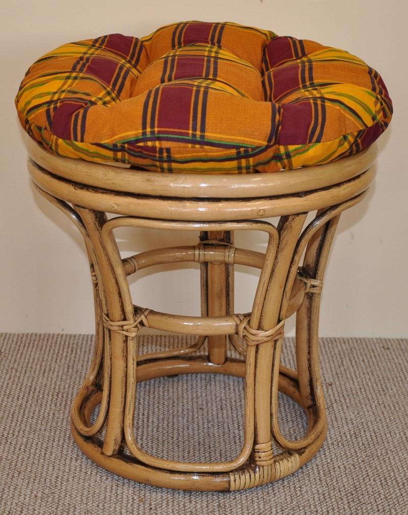 Ratanová taburetka úzká brown wash polstr okrový | RYCHLÉ DODÁNÍ