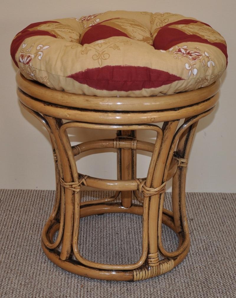 Ratanová taburetka úzká brown wash polstr vínový motiv | RYCHLÉ DODÁNÍ