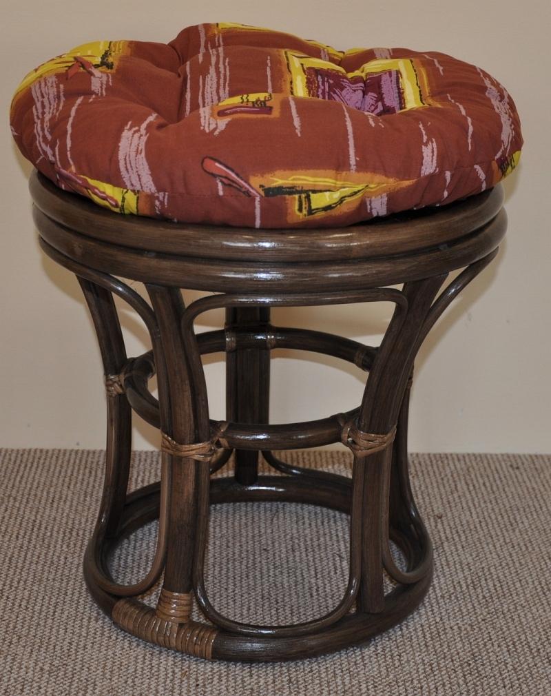 Ratanová taburetka úzká hnědá polstr hnědý list | RYCHLÉ DODÁNÍ