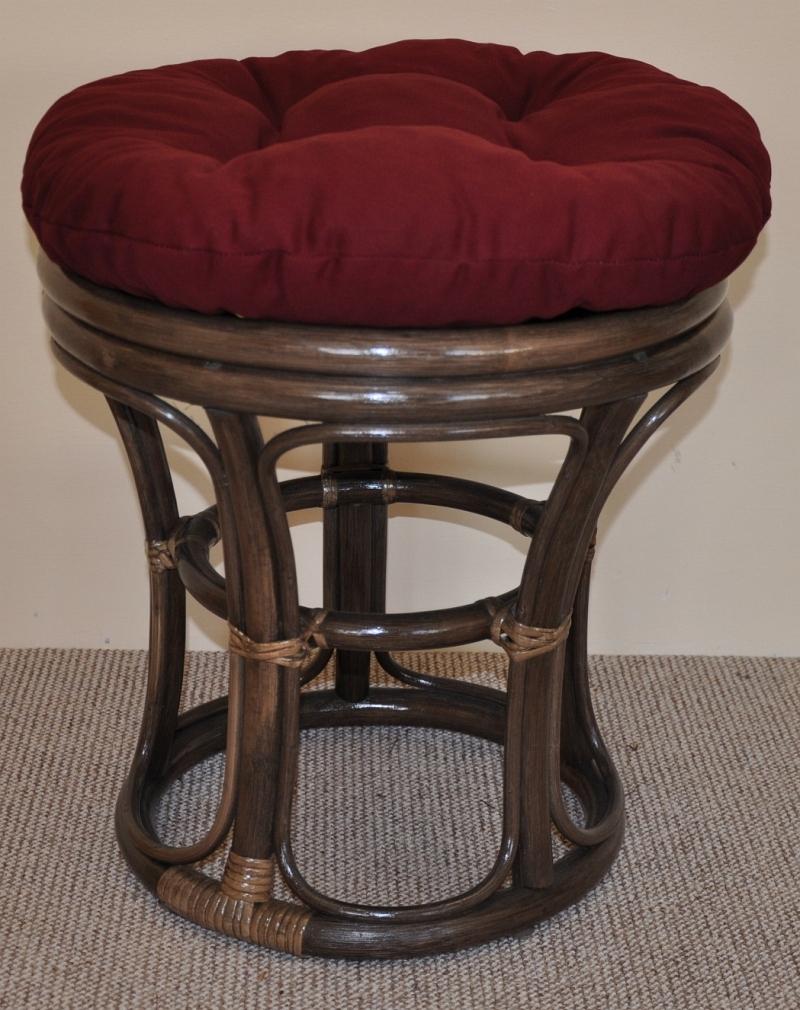 Ratanová taburetka úzká hnědá polstr vínový | RYCHLÉ DODÁNÍ