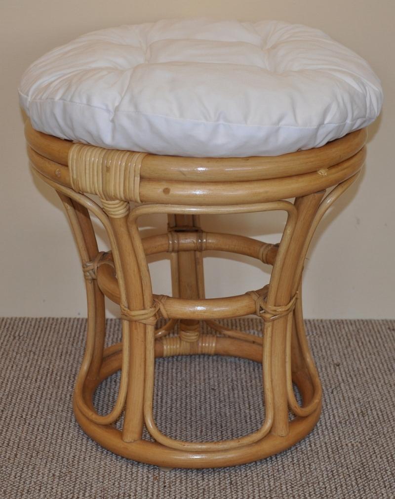 Ratanová taburetka úzká medová bílá | RYCHLÉ DODÁNÍ