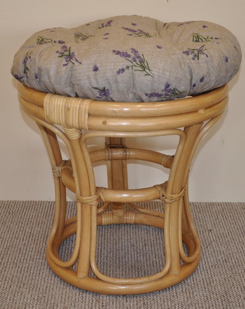 Ratanová taburetka úzká medová polstr hnědý list | RYCHLÉ DODÁNÍ