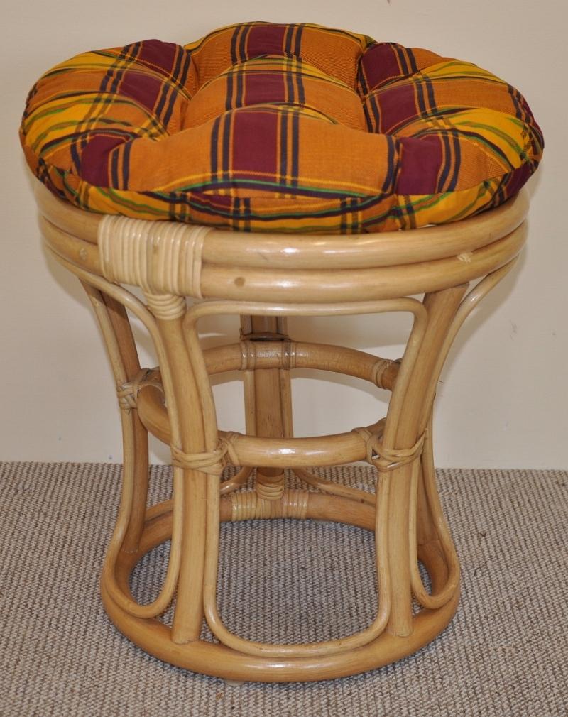 Ratanová taburetka úzká medová polstr okrový | RYCHLÉ DODÁNÍ