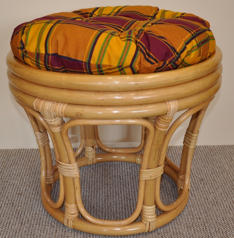 Ratanová taburetka velká medová polstr okrový | RYCHLÉ DODÁNÍ