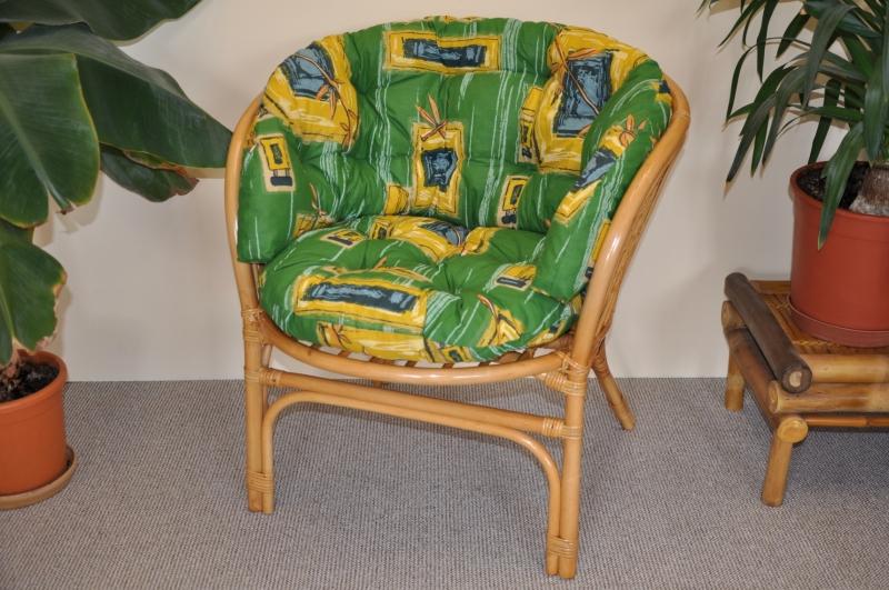 Ratanové křeslo Bahama medové polstr MAXI zelený | RYCHLÉ DODÁNÍ