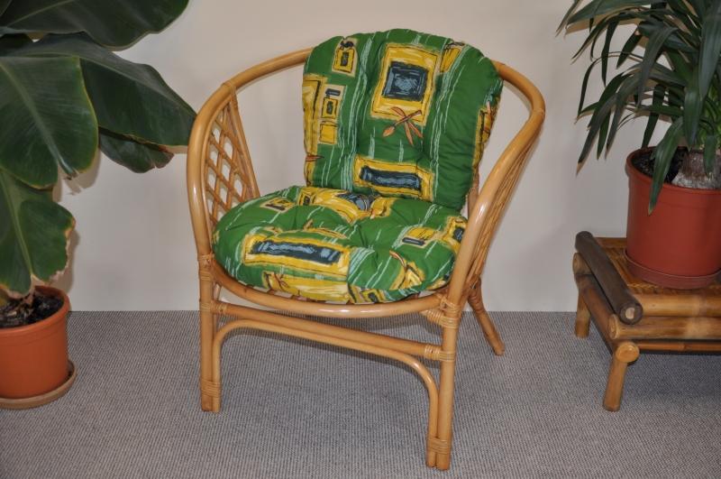 Ratanové křeslo Bahama medové polstr zelený | RYCHLÉ DODÁNÍ