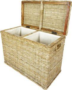 ratanový prádelní koš - dvě přihrádky