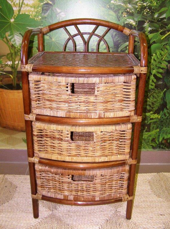 ratanový prádelník - 3 zásuvky - tmavý