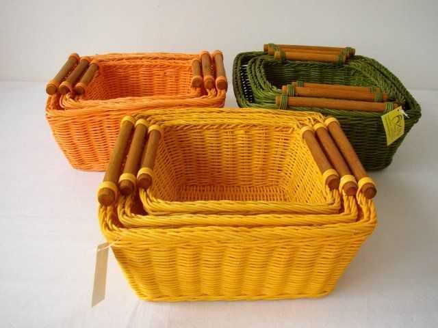 Ratanový košík set 3 varianta žlutá | RYCHLÉ DODÁNÍ