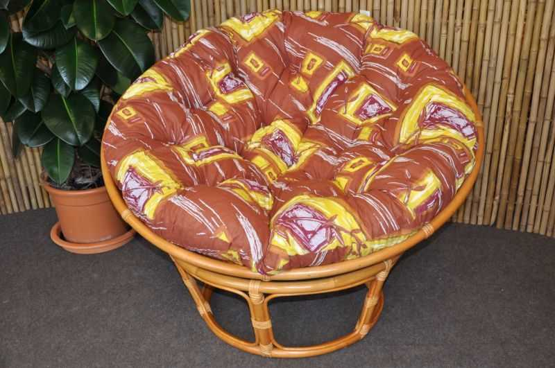 Ratanový papasan 110 cm medový polstr hnědý list