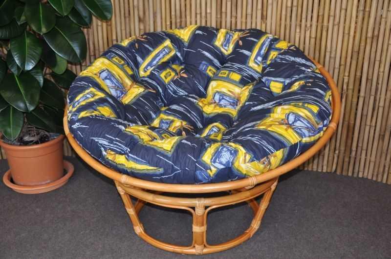 Ratanový papasan 110 cm medový polstr modrý list