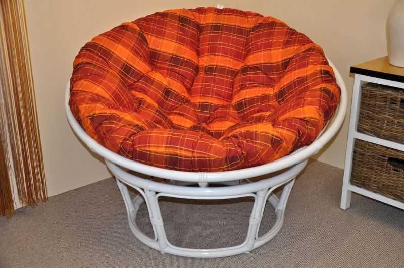 Ratanový papasan 110 cm bílý, polstr oranžová kostka SLEVA 7 % | RYCHLÉ DODÁNÍ