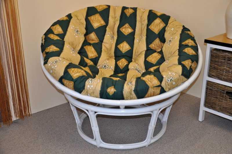 Ratanový papasan 110 cm bílý, polstr zelený motiv SLEVA 7 % | RYCHLÉ DODÁNÍ
