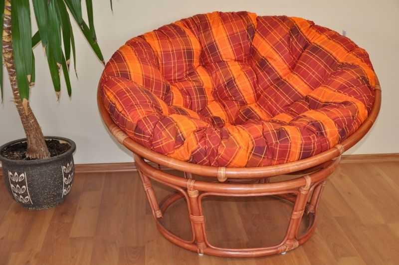 Ratanový papasan 110 cm koňak, polstr oranžová kostka SLEVA 7 % | RYCHLÉ DODÁNÍ