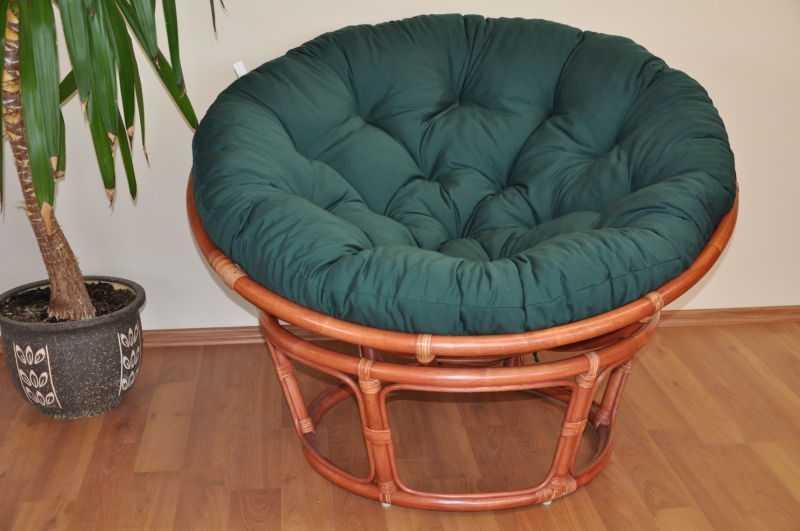 Ratanový papasan 110 cm koňak, polstr zelený dralon SLEVA 7 % | RYCHLÉ DODÁNÍ