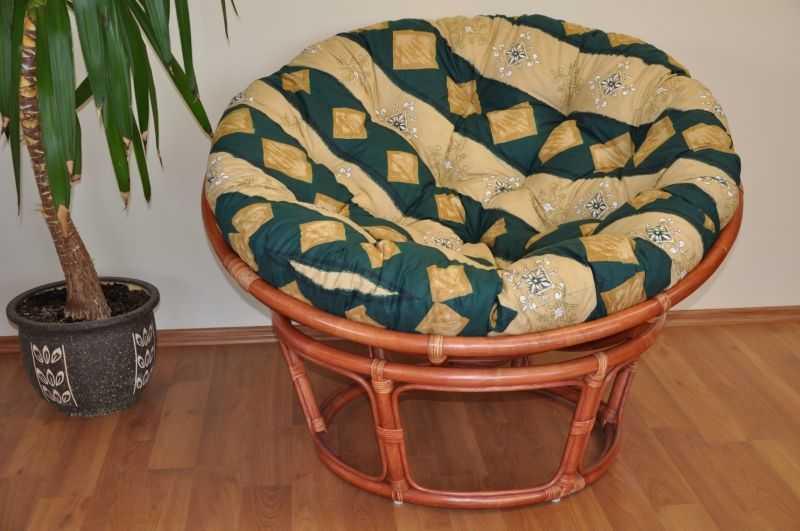 Ratanový papasan 110 cm koňak, polstr zelený motiv SLEVA 7 % | RYCHLÉ DODÁNÍ