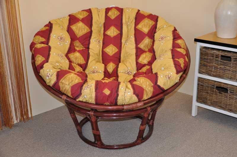 Ratanový papasan 110 cm mahagon, polstr vínový motiv