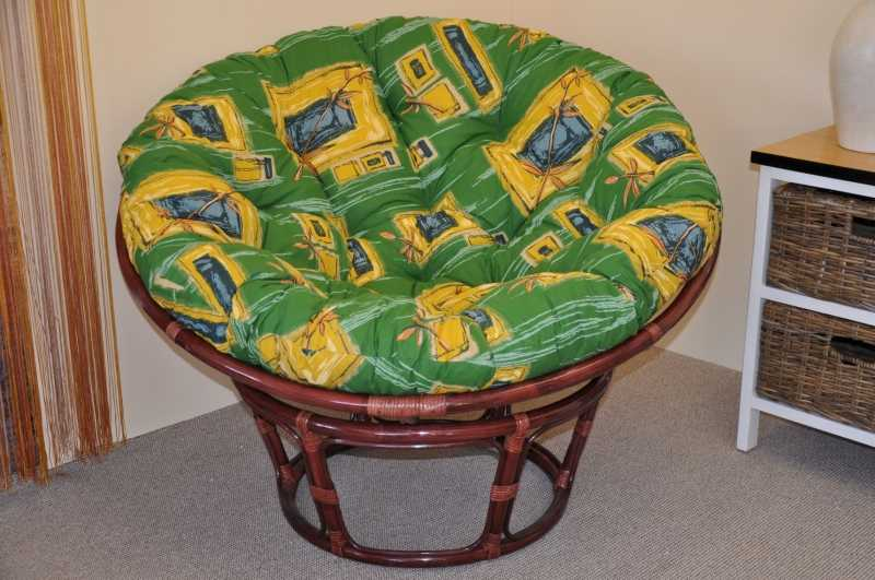 Ratanový papasan 110 cm mahagon, polstr zelený